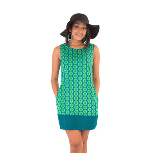 60s-Style-Cotton-Dress-Green-Print-with-Pockets - Avalonia