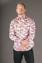Camouflage Pink Print Cotton Slim Fit Mens Shirt Long Sleeve