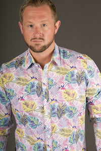 Pink Floral Print Cotton Slim Fit Mens Shirt Long Sleeve