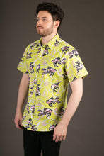 Green Fish Print Cotton Slim Fit Mens Shirt Short Sleeve
