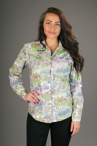 Animal Jungle Pink Print Cotton Slim Fit Womens Shirt Long Sleeve