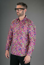 Purple Multi-Colour Print Cotton Slim-Fit Long-Sleeve Mens Shirt