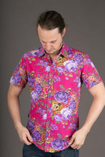 Floral Print Cotton Slim Fit Mens Shirt Short Sleeve