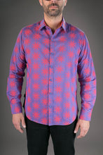Purple Red Spiral Star Print Cotton Slim Fit Mens Shirt Long Sleeve