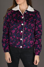 Womens Floral Print Wool Jacket Shearling Fur Lining