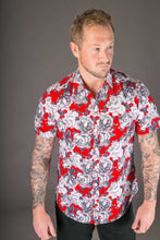 Red Floral Print Cotton Slim and Regular Fit Mens Shirt Short Sleeve