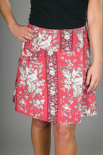 Reversible A Line Red White Floral Print with Pocket