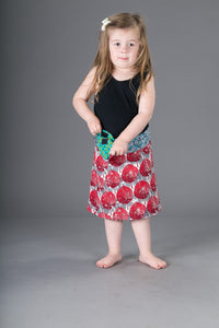 Childrens Reversible Cotton Skirt Red Green