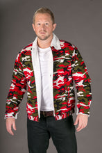 Camouflage Print Corduroy Cotton Mens Winter Jacket Shearling Lining