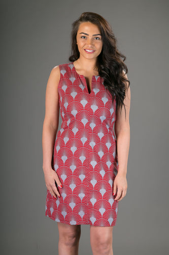 Classic Sheath Cotton Dress Red Grey Geometric Print