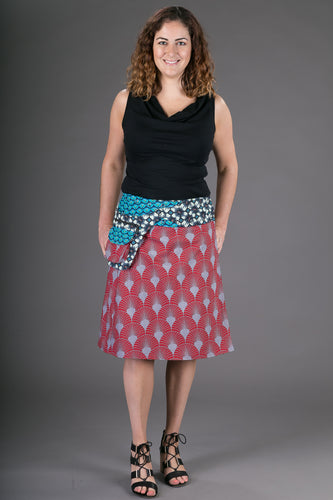 Reversible Cotton Skirt Red Grey Blue Print with Pocket