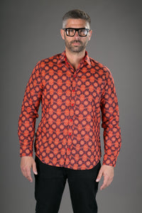 Red Orange Print Cotton Slim-Fit  Long-Sleeve Mens Shirt