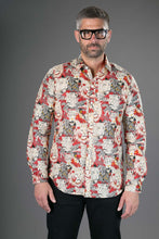 Red Lion Tiger Print Cotton Slim and Regular Fit Mens Shirt Long Sleeve