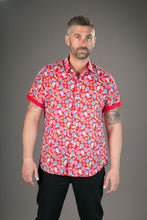Fruits on Red Print Cotton Slim Fit Mens Shirt Short Sleeve