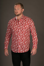 Red Rabbit Dog Swan Print Cotton Slim Fit Mens Shirt Long Sleeve