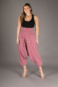 Red Denim Cotton Harem Yoga Jumpsuit Pants