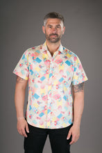 Beach Sunbathing Print Cotton Slim Fit Mens Shirt Short Sleeve