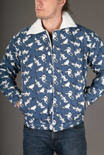 Shark Print Canvas Cotton Mens Winter Jacket Shearling Lining