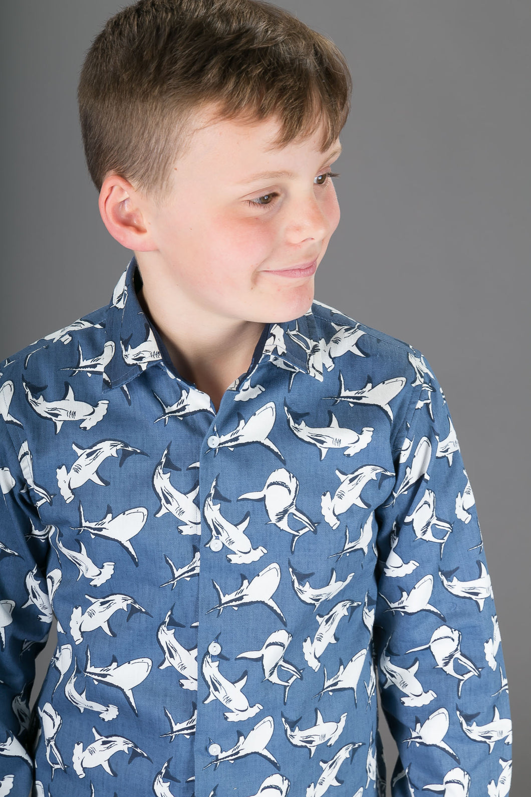 Boys Cotton Grey Sharks Long Sleeve Shirt