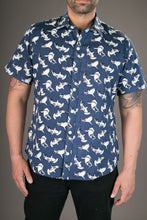 Sharks Grey Cotton Twill Slim Fit Mens Shirt Short Sleeve