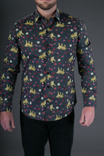Tiger Heart Print Cotton Slim and Regular Fit Mens Shirt Long Sleeve