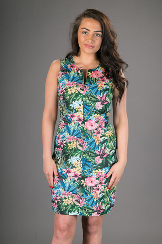 Classic Sheath Cotton Dress Tropical Floral Print