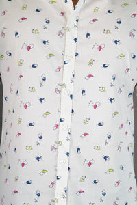 Cotton Bird Print White Slim-Fit Mens Long Sleeve Shirt