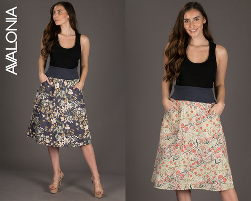 Reversible Midi Skirt Blue Cream Floral Print with Pockets