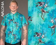 Birds Blue Print Cotton Slim and Regular Fit Mens Shirt Short Sleeve