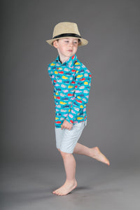 Boys Cotton Blue Whales Long Sleeve Shirt