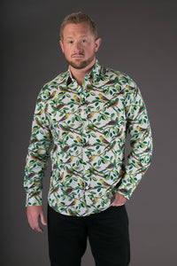 White Birds Floral Print Cotton Slim Fit Mens Shirt Long Sleeve