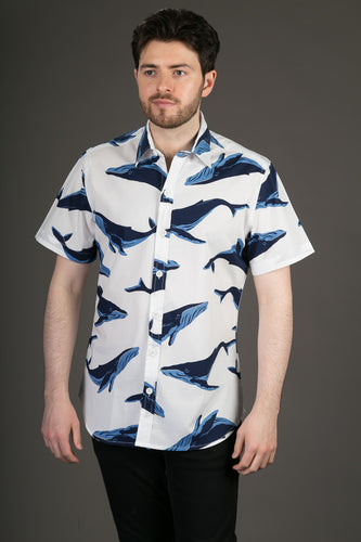 Blue Whale White Print Cotton Slim Fit Mens Shirt Short Sleeve