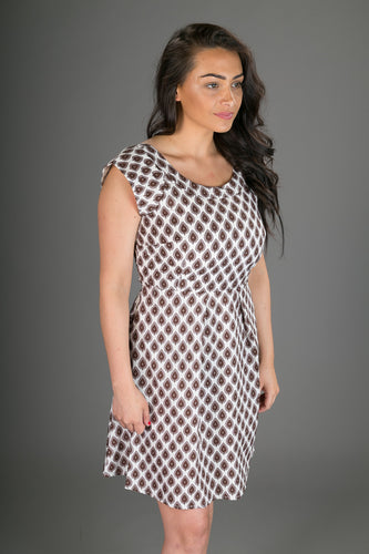 Cap Sleeve Cotton Dress White Geometric Print