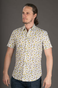 Lemon Print Cotton Slim Fit Mens Shirt Short Sleeve