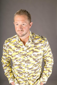Camouflage Yellow Print Cotton Slim Fit Mens Shirt Long Sleeve