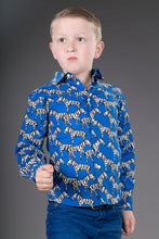 Boys Cotton Blue Zebra Long Sleeve Shirt