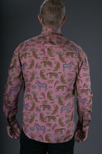 Zebra Tiger Pink Animal Print Cotton Slim Fit Mens Shirt Long Sleeve