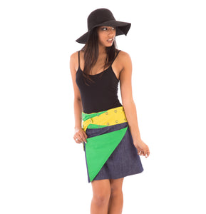 Reversible Cotton Skirt Yellow Green Blue Denim with Pocket