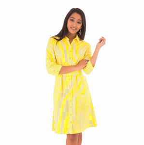 Yellow Shirt Dress Cotton Stripe Print Mid Waist Tie Adjustable Sleeves Pockets Price - Avalonia, Avalonia - Avalonia