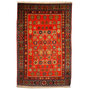 Persian rug 6.9 x 4.3 ft / 203 x 129 cm Shirvan carpet Orange Green Blue Vintage