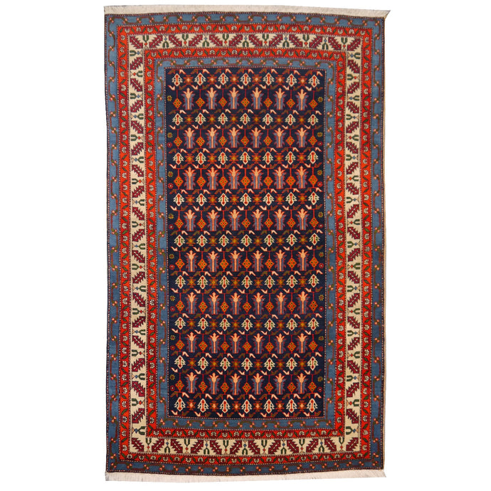 Persian Rug  6.9 x 4.2 ft / 203 x 125 cm Blue Beige Orange Green Purple midcentury Shirvan