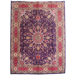Tina - Tabriz vintage persian blue rug 13 x 10 ft red, blue, green, beige, vintage