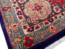 Vintage large blue rug 13 x 10 ft red, blue, green, beige, vintage