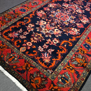 MIKE - 8x5 ft Sarouk Mahal vintage persian rug 245 x 160 cm semi antique blue red orange ivory carpet wool