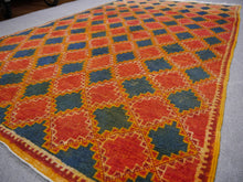 Vintage hand knotted moroccan rug Blue, Red, Ebony, Orange 8.4 x 5 ft / 257 x 153 cm
