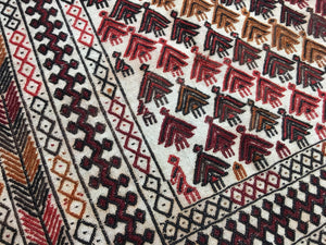 Vintage Rug turkish Cicim Kilim 5.3 x 4.1 / 165 x 125 cm boho carpet 5 x 4 ft
