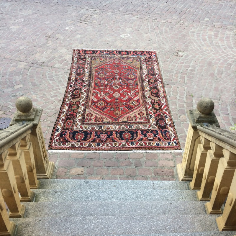 Persian rug Malayer antique 5.9 x 4.8 ft / 180 x 148 cm worn distressed vintage Boho Style, carpet