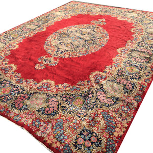 Kerman Ravar Lavar Persian Rug 13.5 x 10 ft / 405 x 315 cm red, blue, green, beige, vintage