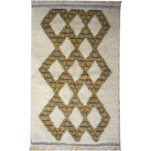 Beni Ourain hand knotted moroccan rug Beige - Brown - Yellow  5 x 3.2 ft / 150 x 95 cm