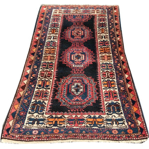 Kurdish vintage persian rug 7 x 4 ft black, beige, brown, orange, pink, blue
